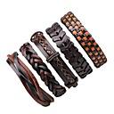 billiga Modearmband-Herr Dam Armband av Remmar Läder Armband vävd Rock Läder Armband Smycken Brun Till Halloween Utekväll