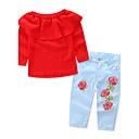 Χαμηλού Κόστους Σετ ρούχων για κορίτσια-Νήπιο Κοριτσίστικα Λουλουδάτο Επίσημο ρούχο Μονόχρωμο Φλοράλ Στάμπα Μακρυμάνικο Κανονικό Κανονικό Βαμβάκι Σετ Ρούχων Ρουμπίνι