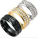 billiga Moderingar-Herr Bandring Groove Rings Guld Svart Silver Titanstål Mode Bröllop Dagligen Smycken Runda