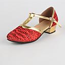 baratos Kids' Flats-Mulheres Sapatos de Dança Moderna / Dança de Salão Paetês Fecho de Encaixe Salto Baixo Personalizável Sapatos de Dança Dourado / Vermelho / Interior / EU38