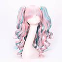 billiga Zentai-Cosplay Peruker Syntetiska peruker Hästsvans Vågigt Vågigt Med hästsvans Peruk Rosa Lång Rosa Syntetiskt hår Dam Rosa