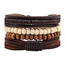 billiga Herrsmycken-Herr Dam Pärlarmband Läder Armband Rep vävd Bohemisk Trä Armband Smycken Kaffe Till Casual Utekväll