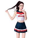 baratos Fantasia de Dança-Fantasias para Cheerleader / Fantasia de Dança Roupa Mulheres Espetáculo Poliéster Sem Manga Caído Saias / Blusa