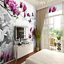 ราคาถูก ภาพจิตรกรรมฝาผนัง-แมวน้ำสีม่วงที่กำหนดเอง 3 มิติ wallcovering ภาพจิตรกรรมฝาผนังคมูรัลขนาดใหญ่ปานกลางร้านอาหารพื้นหลังดอกไม้ต้นไม้