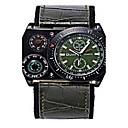 ราคาถูก รองเท้าOxfordสำหรับผู้ชาย-สำหรับผู้ชาย นาฬิกาใส่ลำลอง นาฬิกาแฟชั่น นาฬิกาข้อมือ นาฬิกาอิเล็กทรอนิกส์ (Quartz) หนัง ระบบอนาล็อก สีดำ กาแฟ สีเขียว