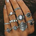 billige Ring Set-Dame Ring Turkis 10pcs Gull Sølv Turkis Legering Geometrisk Form Statement Daglig Smykker geometriske