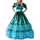 billiga Lolitaklänningar-Vintage Gotiskt Victoriansk Medeltida kostymer 18th Century Klänningar Festklädsel Maskerad Dam Satin Kostym Blå Vintage Cosplay Party Bal Kortärmad Golvlång Balklänning Plusstorlekar Anpassad