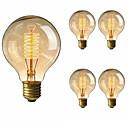 billiga Glödlampa-5pcs 40 W E26 / E27 G80 Varmvit 2200-2700 k Kontor / företag / Bimbar / Dekorativ Glödande Vintage Edison glödlampa 220-240 V