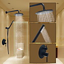billiga Set med badrumstillbehör-Duschkran - Rund Oljeaktig Brons Duschsystem Keramisk Ventil Bath Shower Mixer Taps / Mässing
