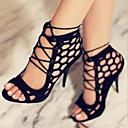 ราคาถูก รองเท้าแตะผู้หญิง-สำหรับผู้หญิง รองเท้าแตะ เปิดนิ้ว ลูกไม้ขึ้น PU Leather ความสะดวกสบาย / ความแปลก ฤดูใบไม้ผลิ / ฤดูร้อน สีดำ / งานแต่งงาน / พรรคและเย็น / พรรคและเย็น / EU42