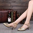 Χαμηλού Κόστους Γυναικεία παπούτσια γάμου-Γυναικεία Μοντέρνα παπούτσια / Αίθουσα χορού Λαμπυρίζον Γκλίτερ Κούμπωμα Μπαρέτας Κόψιμο Προσαρμοσμένο τακούνι Εξατομικευμένο Παπούτσια Χορού Χρυσό / Κόκκινο / Εσωτερικό / EU38
