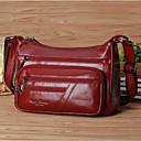 olcso Keresztpántos táskák-Női Cipzár Marhabőr Vállon átvetős táska Fekete / Kávé / Sötétvörös
