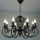 baratos Perucas de Cabelo Natural-8-luz Lustres Luz Ambiente Metal Estilo Vela 110-120V / 220-240V / E12 / E14