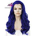billige Hairextension med naturlig farge-Syntetisk blonder foran parykker Bølget Bølget Blonde Forside Parykk Lang Blå Syntetisk hår Dame Naturlig hårlinje Midtskill Blå