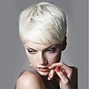 billiga Utan lock-Mänskligt hår Peruk Korta Rak Korta frisyrer 2019 Rak Kort Sidodel Maskingjord Dam Svart Vit Blondin / Blekblondin 8 tum