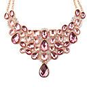 billiga Modehalsband-Dam Uttalande Halsband Päron Hängande damer Europeisk Mode Resin Glas Plast Rosa Halsband Smycken Till Party Dagligen