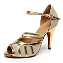 זול תכשיטים לשיער-בגדי ריקוד נשים נעלי ריקוד דמוי עור נעליים לטיניות נעלי ספורט עקב סטילטו מותאם אישית זהב / שחור / מקצועי