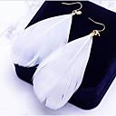 ราคาถูก กระเป๋าถือออกงานและกระเป๋าคลัทช์-สำหรับผู้หญิง Drop Earrings Leaf Shape Feather สุภาพสตรี โบฮีเมียน โบโฮ ที่มีขนาดใหญ่ ขนนก ต่างหู เครื่องประดับ ขาว / ฟ้า / สีชมพู สำหรับ ทุกวัน Street