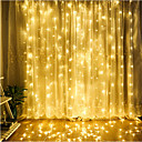 billige Vielsesdekorasjoner-zdm 1 stk led gardinlampesnor 3 * 3 m 300 led jul utendørs vanntett festival bryllup dekorativt gardin flerfarget / varm hvit / kald hvit / blå eu ac220v / us ac110v