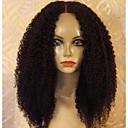 halpa Aitohiusperuukit verkolla-Aidot hiukset Liimaton puoliverkko Lace Front Peruukki tyyli Perulainen Kinky Curly Peruukki 150% Hiusten tiheys ja vauvan hiukset Luonnollinen hiusviiva Naisten Keskikokoinen Aitohiusperuukit