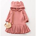 Χαμηλού Κόστους Μανικετόκουμπα Ανδρικά-Νήπιο Κοριτσίστικα Καθημερινό Καθημερινά Εξόδου Μονόχρωμο Μακρυμάνικο Φόρεμα Ανθισμένο Ροζ / Βαμβάκι