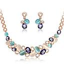 billiga Jewelry Set-Dam Kubisk Zirkoniumoxid Smycken Set geometriska damer Ljuv Elegant Natursten örhängen Smycken Guld Till Gåva Kvällsfest