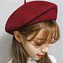 Χαμηλού Κόστους Καπέλο για πάρτι-Γυναικεία Μονόχρωμο Βίντατζ Μαλλί Κομψό-Ρεπούμπλικα Άνοιξη, Φθινόπωρο, Χειμώνας, Καλοκαίρι Σκούρο γκρι Κρασί