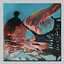 Χαμηλού Κόστους Αφηρημένοι Πίνακες-Hang-ζωγραφισμένα ελαιογραφία Ζωγραφισμένα στο χέρι - Άνθρωποι Απλός Μοντέρνα Περιλαμβάνει εσωτερικό πλαίσιο / Επενδυμένο καμβά