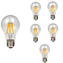 baratos Luzes de Palco-6pcs 8 W Lâmpadas de Filamento de LED 760 lm E26 / E27 A60(A19) 8 Contas LED COB Decorativa Branco Quente Branco Frio 220-240 V / RoHs