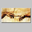 billige Abstrakte malerier-Hang malte oljemaleri Håndmalte - Mennesker Moderne Uten Indre Ramme / Valset lerret