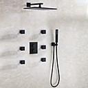 Χαμηλού Κόστους Βρύσες Ντουζιέρας-Βρύση Ντουζιέρας - Σύγχρονο / Σύγχρονη Σύγχρονη Μαύρο Επιτοίχιες Κεραμική Βαλβίδα Bath Shower Mixer Taps / Ορείχαλκος