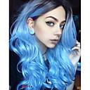 povoljno Sintetičke perike s čipkom-Sintetičke perike Tijelo Wave Stil Capless Perika Plava Sintentička kosa Žene Ombre Tamni korijeni Srednji dio Plava Perika Dug