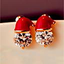 baratos Bijuteria Religiosa-Mulheres Diamante Zircônia Cubica Brincos Curtos Redondo Guloseima Fashion Zircão Brincos Jóias Vermelho Para Natal Carnaval