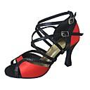 ราคาถูก รองเท้าแบบลาติน-สำหรับผู้หญิง รองเท้าเต้นรำ Flocking / ซาติน / หนังเทียม ลาติน รองเท้าแตะ / ส้น ส้นแบบกำหนดเอง ตัดเฉพาะได้ สีดำ / สีแดง / หนังสัตว์ / มืออาชีพ