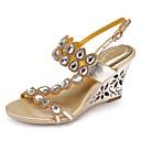 ราคาถูก รองเท้าแตะผู้หญิง-สำหรับผู้หญิง รองเท้าแตะ Wedge Heels เปิดนิ้ว หินประกาย / คริสตัล / หัวเข็มขัด Polyurethane Fashion Boots ฤดูใบไม้ผลิ / ฤดูร้อน สีทอง / สีม่วง / สีชมพู / พรรคและเย็น / พรรคและเย็น