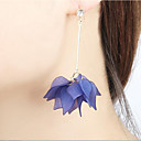 cheap Earrings-Women's Drop Earrings Hoop Earrings Tassel Chandelier Long Floral / Botanicals Leaf Flower Statement Ladies Earrings Jewelry Yellow / Blue / Pink For Casual Going out
