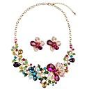 Χαμηλού Κόστους Σετ Κοσμημάτων-Γυναικεία Κρυστάλλινο Κουμπωτά Σκουλαρίκια Κρεμαστό Λουλούδι κυρίες Κλασσικό Μοντέρνα Υπερμεγέθη Κρύσταλλο Προσομειωμένο διαμάντι Σκουλαρίκια Κοσμήματα Χρυσό Για Αρραβώνας Γαμήλια Τελετή
