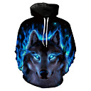 cheap Anime Costumes-Men's Plus Size Long Sleeve Hoodie - 3D / Animal Wolf, Print Hooded Blue XL / Spring / Winter