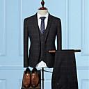 povoljno Muške oksfordice-Muškarci Party / Ležerno / za svaki dan Jesen / Zima Veći konfekcijski brojevi Normalne dužine odijela, Karirani uzorak Fantastične zvijeri V izrez Dugih rukava Poliester Crn / Lila-roza / Navy Plava