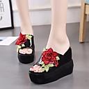 ราคาถูก รองเท้าแตะ & Flip-Flops ผู้หญิง-สำหรับผู้หญิง รองเท้าแตะและรองเท้าแตะ Platform เปิดนิ้ว กางเกงยีนส์ ความสะดวกสบาย ฤดูร้อน ขาว / สีดำ