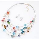 billiga Jewelry Set-Dam Kristall Dubb Örhängen Halsband geometriska damer Klassisk Bohemisk Bohem Kristall örhängen Smycken Silver / Mörkblå Till Dagligen Helgdag
