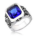 ราคาถูก แหวนผู้ชาย-สำหรับผู้ชาย คำชี้แจง Ring แหวนตรา Cubic Zirconia สีดำ แดง ฟ้า Titanium โลหะ ผิดปกติ แฟชั่น ที่มีขนาดใหญ่ ทุกวัน Street เครื่องประดับ Emerald Cut จำลอง เท่ห์