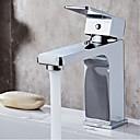 Χαμηλού Κόστους Θήκες iPhone-Μπάνιο βρύση νεροχύτη - Καταρράκτης Χρώμιο Αναμεικτικές με ενιαίες βαλβίδες Ενιαία Χειριστείτε μια τρύπαBath Taps