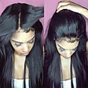povoljno Perike s ljudskom kosom-Virgin kosa Netretirana  ljudske kose Lace Front Perika Srednji dio Slobodni dio Kardashian stil Brazilska kosa Ravan kroj Priroda Crna Perika 130% Gustoća kose 8-30 inch s dječjom kosom Za crnkinje