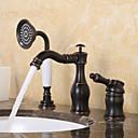 billiga Tvättställsblandare-Badkarskran - Antik / Traditionell Oljeaktig Brons Hål med bredare avstånd Keramisk Ventil Bath Shower Mixer Taps / Enda handtag tre hål