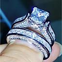 billiga Moderingar-Dam Bandring Eternity Ring Diamant Kubisk Zirkoniumoxid 2 Silver Koppar Geometrisk Fyrkantig symbol damer Ledigt Mode Bröllop Gåva Smycken Patiens