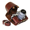 baratos Blocos de Montar-dengpin® olympus om-d e-m10 mark ii em10 mark2 lente de 14-42mm de comprimento pu capa de couro para estojo de câmera com alça de ombro