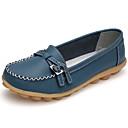 ราคาถูก รองเท้าแตะและรองเท้าโลฟเฟอร์สำหรับผู้หญิง-สำหรับผู้หญิง รองเท้าส้นเตี้ยทำมาจากหนังและรองเท้าสวมแบบไม่มีเชือก ส้นแบน ปลายกลม หัวเข็มขัด หนัง ความสะดวกสบาย ฤดูใบไม้ผลิ / ตก กาแฟ / แดง / สีฟ้า