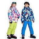 ราคาถูก รองเท้าสโนว์บูตปีนเขา-Wild Snow เด็กผู้ชาย เด็กผู้หญิง Ski Jacket & Pants กันลม Warm การระบายอากาศ Skiing Multisport กีฬาหิมะ เส้นใยสังเคราะห์ ตารางไขว้ ชุดออกกำลังกาย Ski Wear / ฤดูหนาว