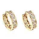 Χαμηλού Κόστους Περούκες από Ανθρώπινη Τρίχα-Γυναικεία Cubic Zirconia μικροσκοπικό διαμάντι Κρίκοι Σκουλαρίκια Huggie κυρίες Ζιρκονίτης Επιχρυσωμένο Σκουλαρίκια Κοσμήματα Χρυσό Για Καθημερινά